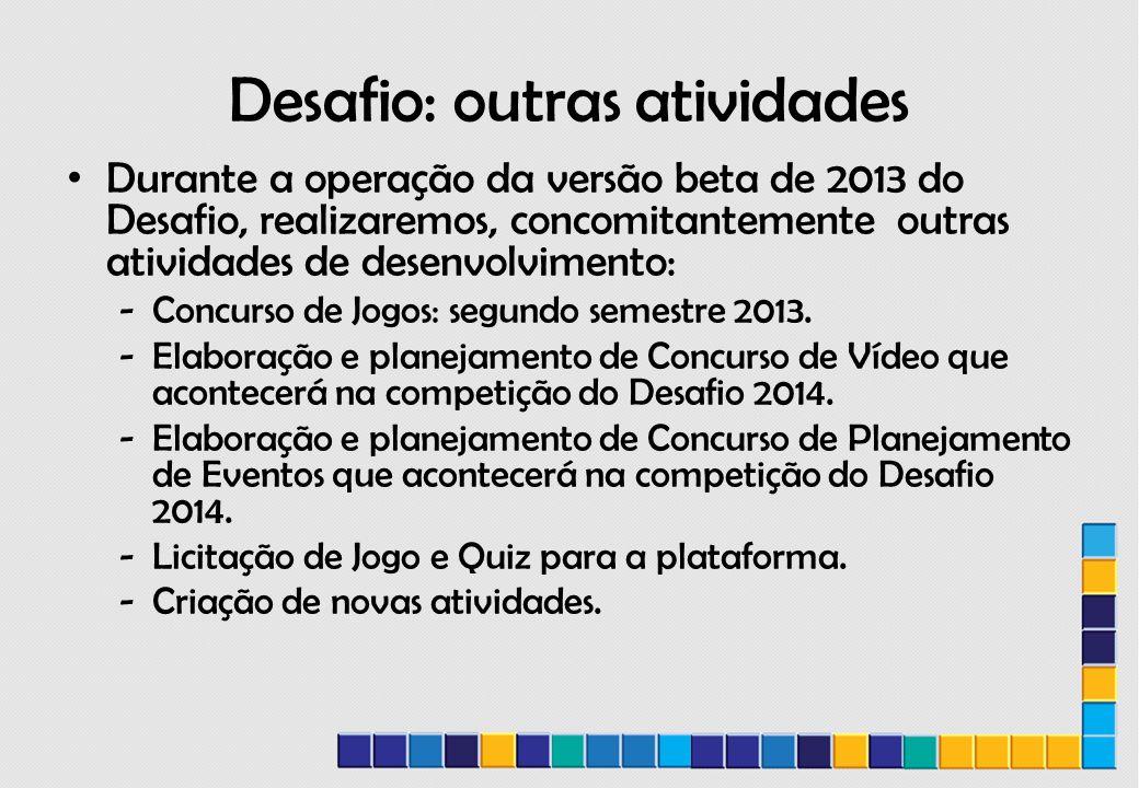 Desafio: outras atividades Durante a operação da versão beta de 2013 do Desafio, realizaremos, concomitantemente outras atividades de desenvolvimento: -Concurso de Jogos: segundo semestre 2013.
