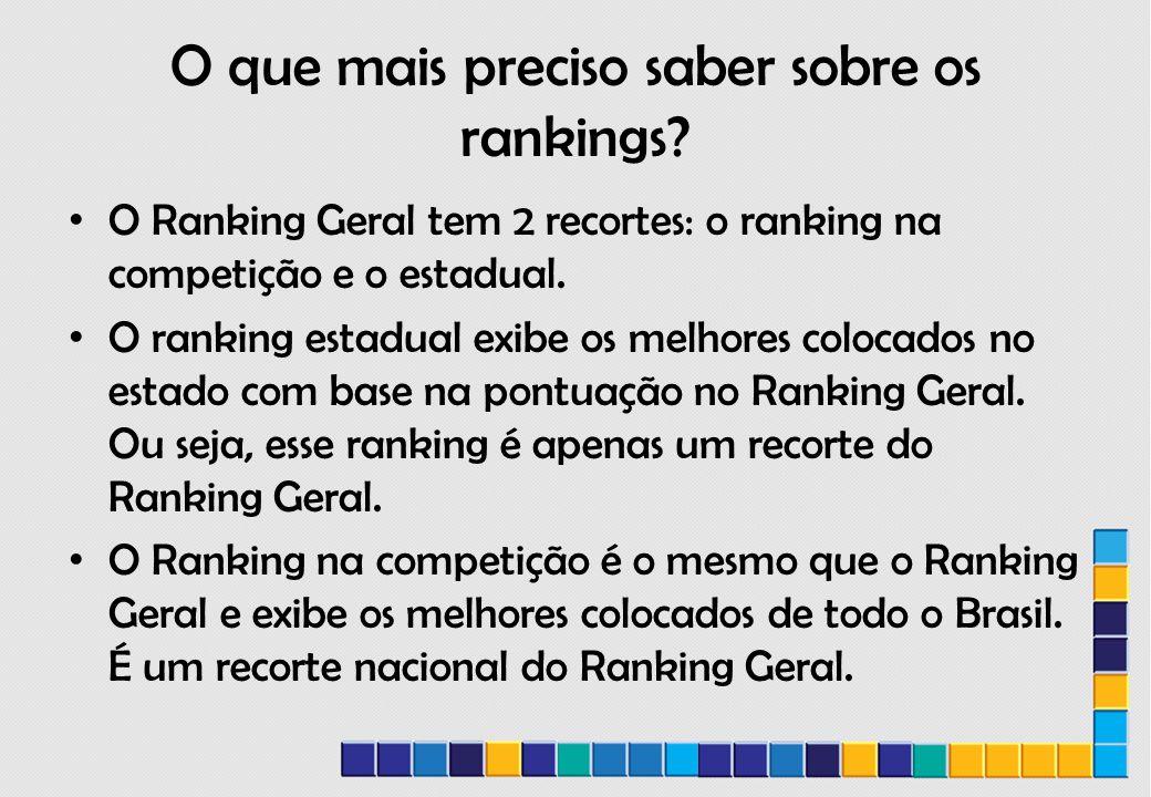 O que mais preciso saber sobre os rankings.