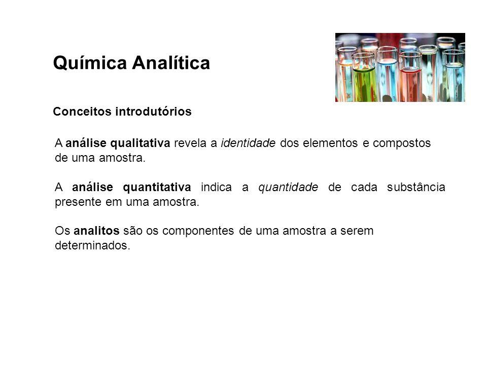 Química Analítica Conceitos introdutórios A análise qualitativa revela a identidade dos elementos e compostos de uma amostra. A análise quantitativa i