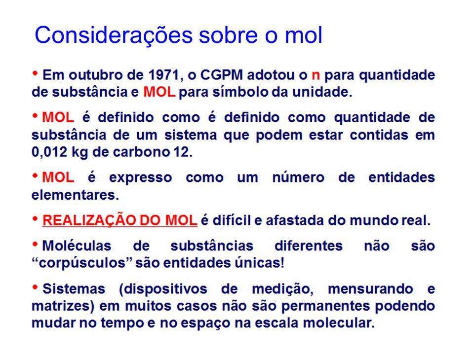 Considerações sobre o mol