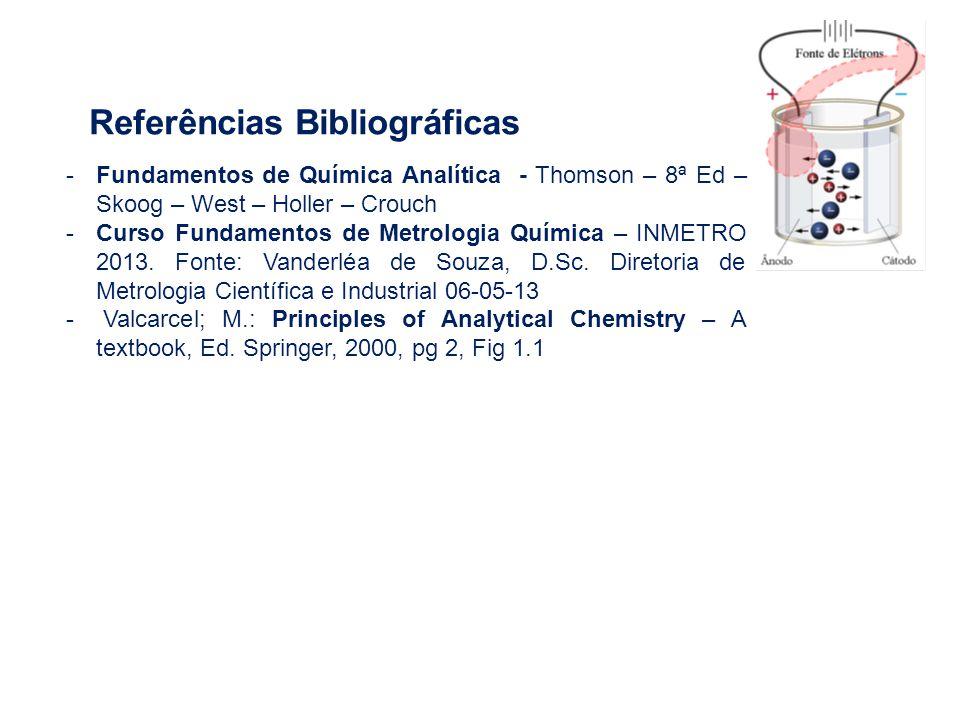 Referências Bibliográficas -Fundamentos de Química Analítica - Thomson – 8ª Ed – Skoog – West – Holler – Crouch -Curso Fundamentos de Metrologia Quími