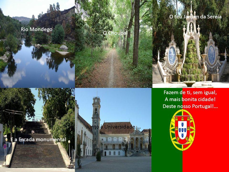 Coimbra de tradições, Cidade-mãe de doutores E da velha Universidade; Fazes vibrar corações Por tantas recordações, Numa palavra…és saudade!