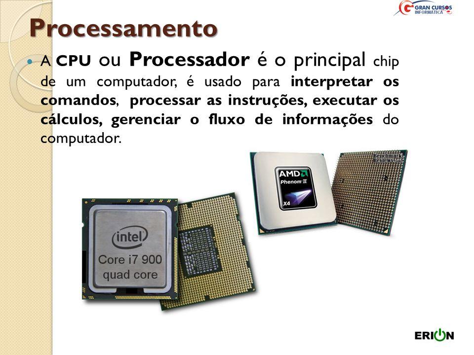 CPU Localização: dentro do gabinete, acoplado à placa-mãe) A CPU é o mesmo que UCP (Unidade Central de Processamento) ou Microprocessador. Devem ser p