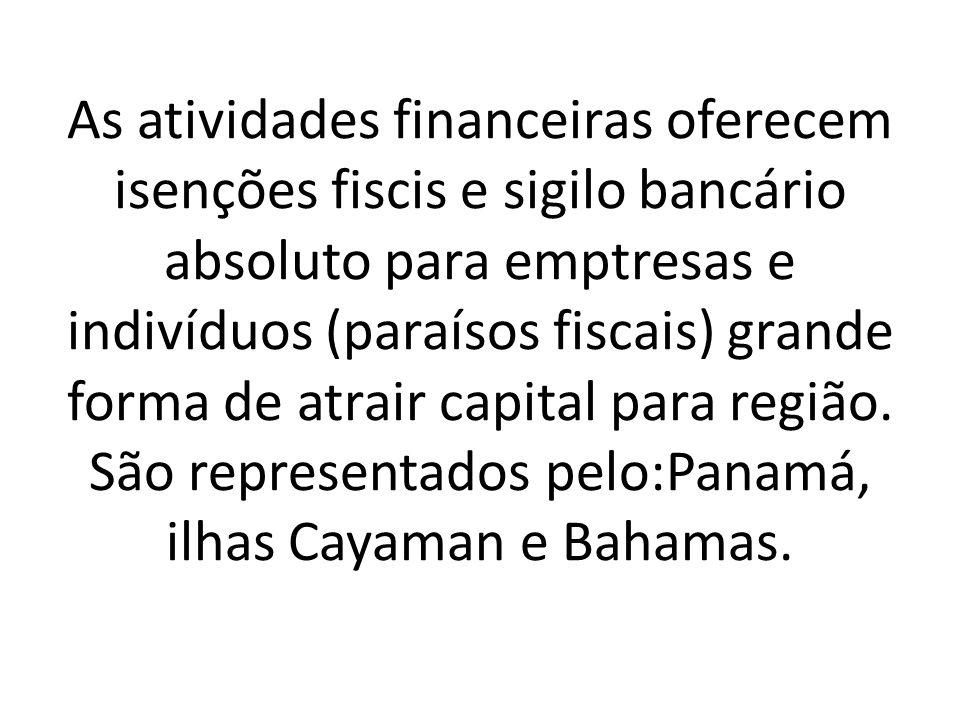 As atividades financeiras oferecem isenções fiscis e sigilo bancário absoluto para emptresas e indivíduos (paraísos fiscais) grande forma de atrair ca