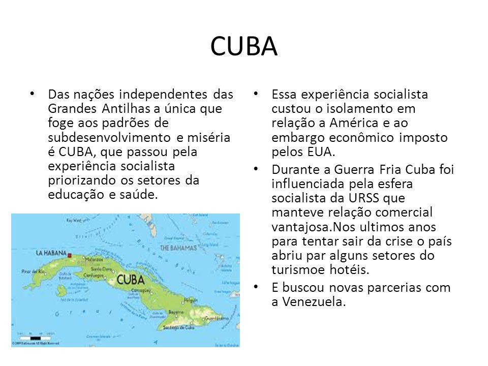 CUBA Das nações independentes das Grandes Antilhas a única que foge aos padrões de subdesenvolvimento e miséria é CUBA, que passou pela experiência so