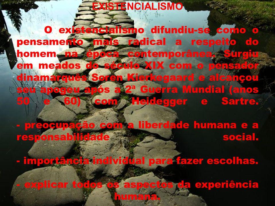 EXISTENCIALISMO O existencialismo difundiu-se como o pensamento mais radical a respeito do homem na época contemporânea.