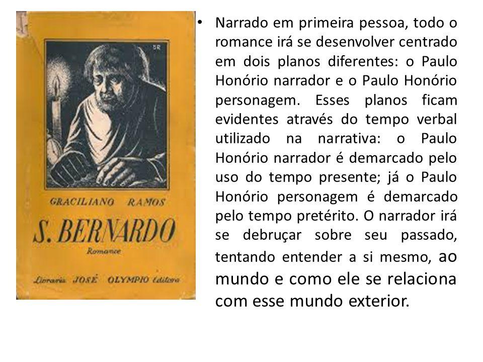 Narrado em primeira pessoa, todo o romance irá se desenvolver centrado em dois planos diferentes: o Paulo Honório narrador e o Paulo Honório personage