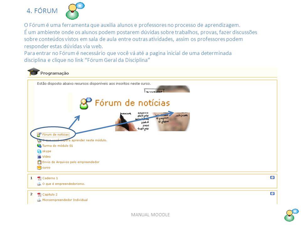 MANUAL MOODLE O Fórum é uma ferramenta que auxilia alunos e professores no processo de aprendizagem.