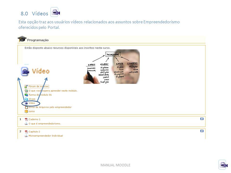 MANUAL MOODLE 8.0 Vídeos Esta opção traz aos usuários vídeos relacionados aos assuntos sobre Empreendedorismo oferecidos pelo Portal.