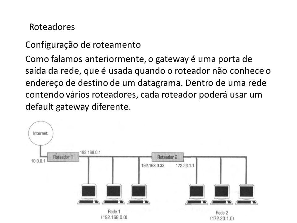 Roteadores Configuração de roteamento Como falamos anteriormente, o gateway é uma porta de saída da rede, que é usada quando o roteador não conhece o