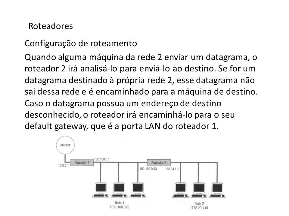 Roteadores Configuração de roteamento Quando alguma máquina da rede 2 enviar um datagrama, o roteador 2 irá analisá-lo para enviá-lo ao destino. Se fo