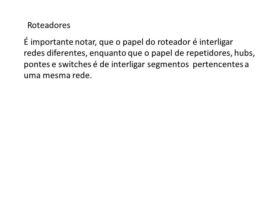 Roteadores Protocolos Os roteadores possuem uma tabela interna que lista as redes que eles conhecem, chamada de tabela de roteamento.