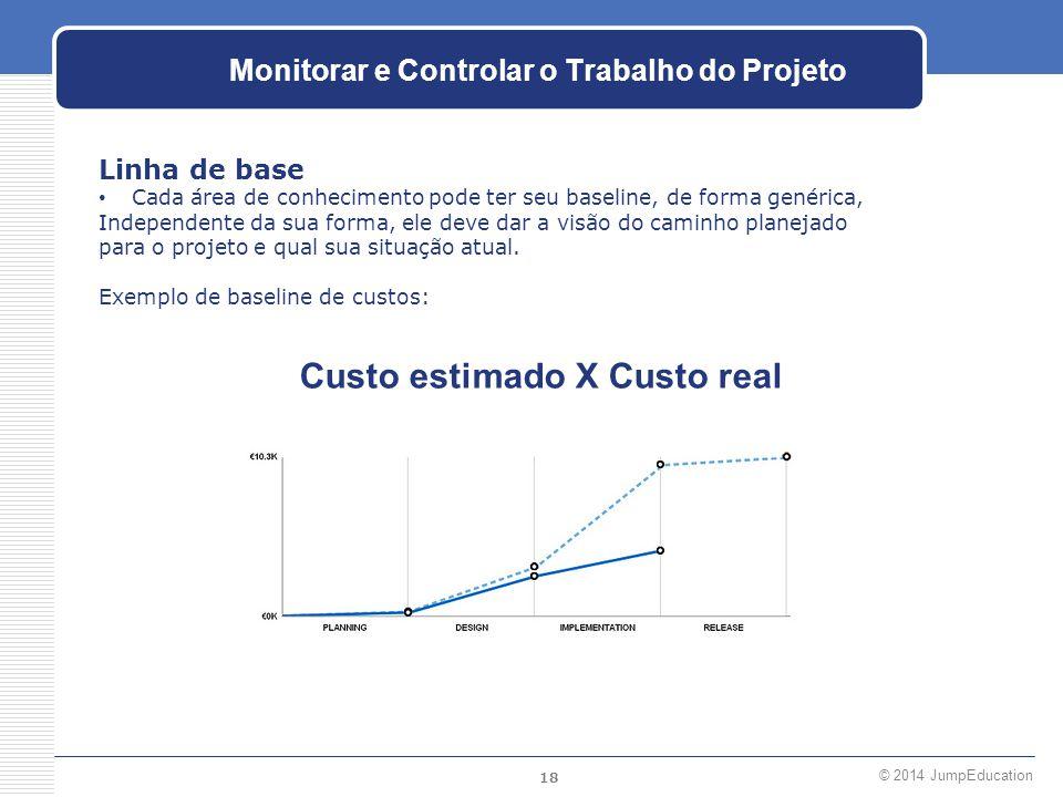 18 © 2014 JumpEducation Monitorar e Controlar o Trabalho do Projeto Linha de base Cada área de conhecimento pode ter seu baseline, de forma genérica,