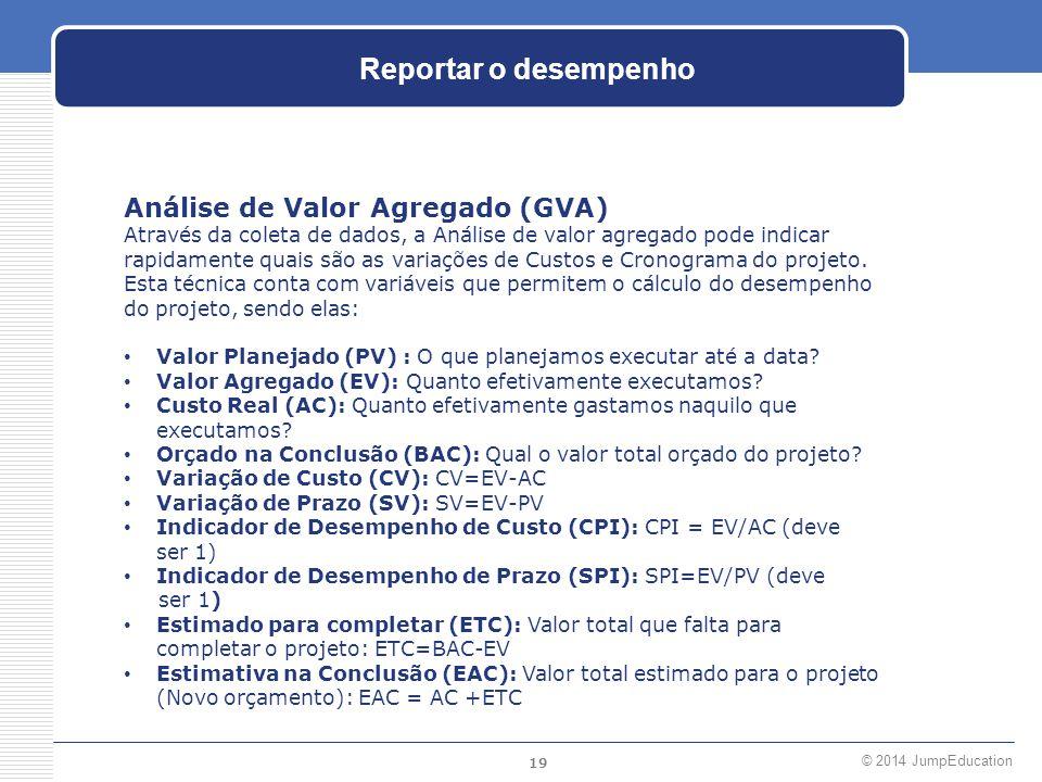 19 © 2014 JumpEducation Reportar o desempenho Análise de Valor Agregado (GVA) Através da coleta de dados, a Análise de valor agregado pode indicar rap