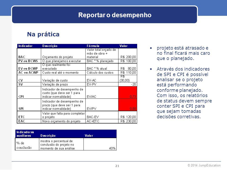 21 © 2014 JumpEducation Reportar o desempenho Na prática projeto está atrasado e no final ficará mais caro que o planejado. Através dos indicadores de