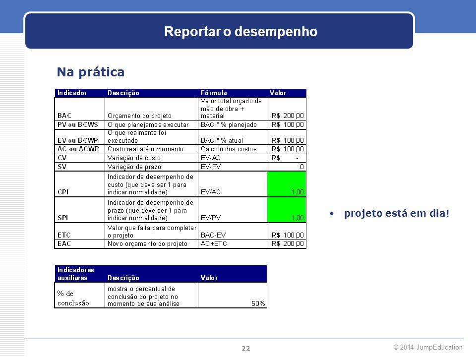 22 © 2014 JumpEducation Reportar o desempenho Na prática projeto está em dia!
