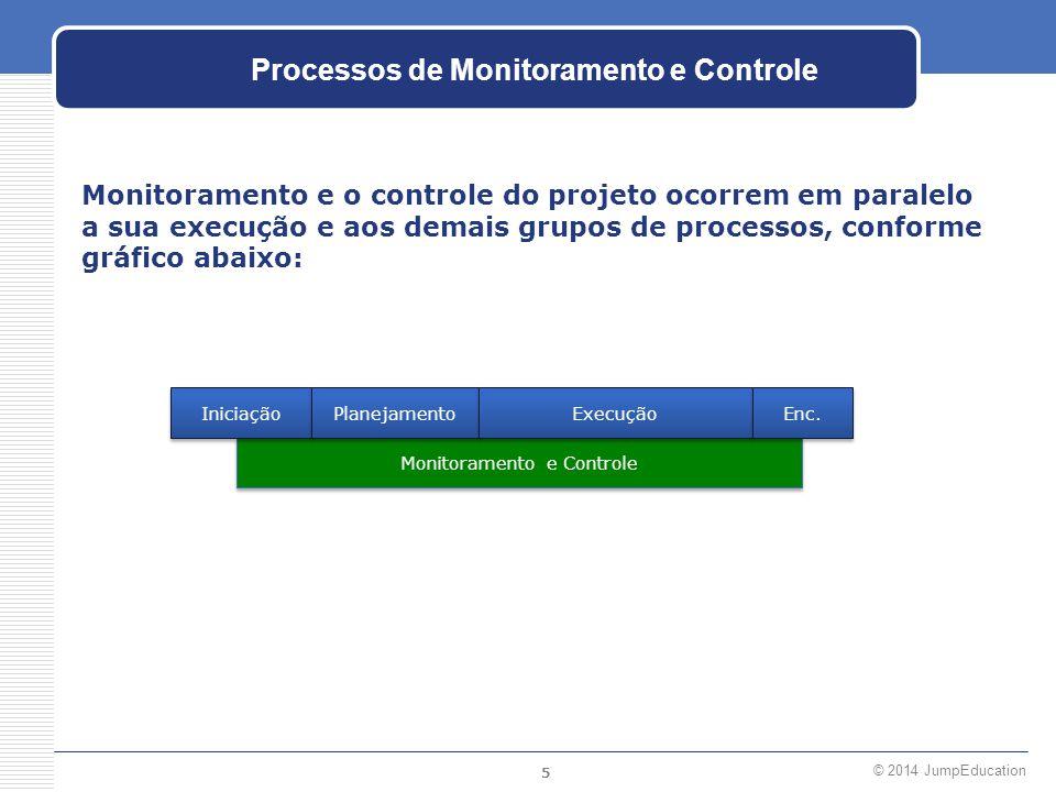 5 © 2014 JumpEducation Monitoramento e Controle Processos de Monitoramento e Controle Monitoramento e o controle do projeto ocorrem em paralelo a sua
