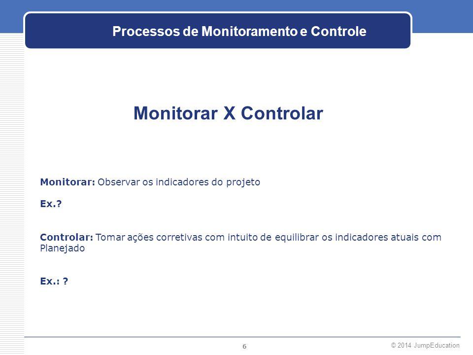6 © 2014 JumpEducation Processos de Monitoramento e Controle Monitorar X Controlar Monitorar: Observar os indicadores do projeto Ex.? Controlar: Tomar