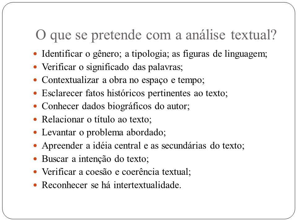O que se pretende com a análise textual? Identificar o gênero; a tipologia; as figuras de linguagem; Verificar o significado das palavras; Contextuali