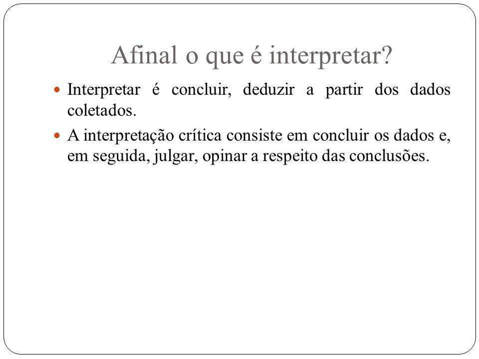 Afinal o que é interpretar? Interpretar é concluir, deduzir a partir dos dados coletados. A interpretação crítica consiste em concluir os dados e, em