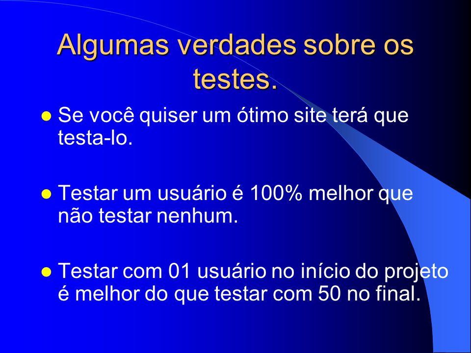 Algumas verdades sobre os testes. Se você quiser um ótimo site terá que testa-lo. Testar um usuário é 100% melhor que não testar nenhum. Testar com 01