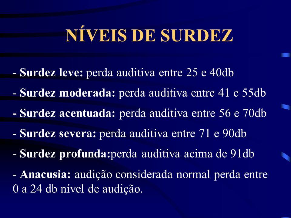 NÍVEIS DE SURDEZ - Surdez leve: perda auditiva entre 25 e 40db - Surdez moderada: perda auditiva entre 41 e 55db - Surdez acentuada: perda auditiva en