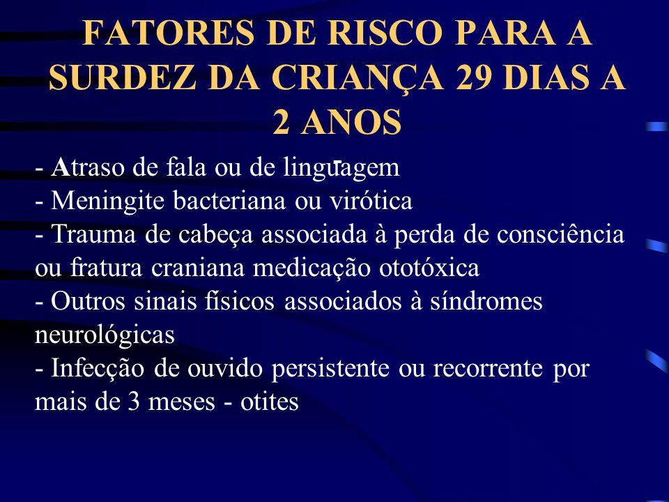 FATORES DE RISCO PARA A SURDEZ DA CRIANÇA 29 DIAS A 2 ANOS - - Atraso de fala ou de linguagem - Meningite bacteriana ou virótica - Trauma de cabeça as
