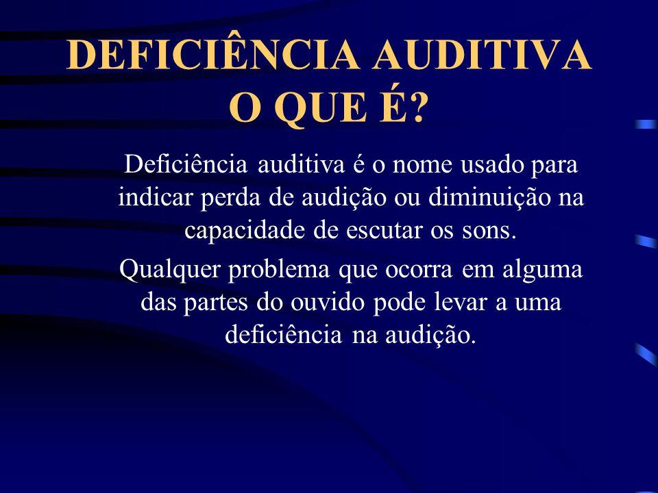 DEFICIÊNCIA AUDITIVA O QUE É? Deficiência auditiva é o nome usado para indicar perda de audição ou diminuição na capacidade de escutar os sons. Qualqu
