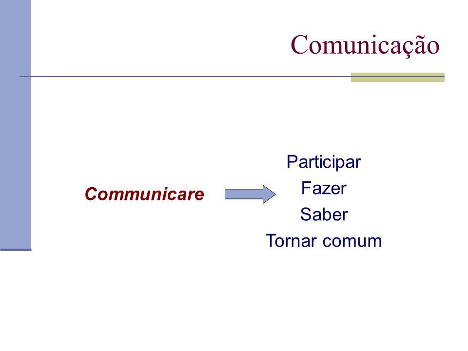 Comunicação Communicare Participar Fazer Saber Tornar comum