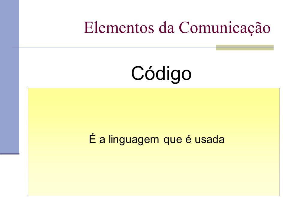 Elementos da Comunicação Código É a linguagem que é usada