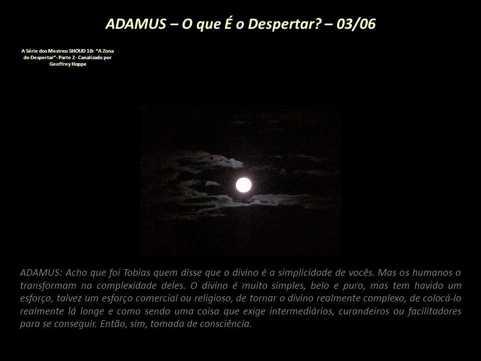 """ADAMUS – O que É o Despertar? – 02/06 A Série dos Mestres: SHOUD 10: """"A Zona do Despertar""""- Parte 2 - Canalizado por Geoffrey Hoppe ADAMUS: Tomada de"""