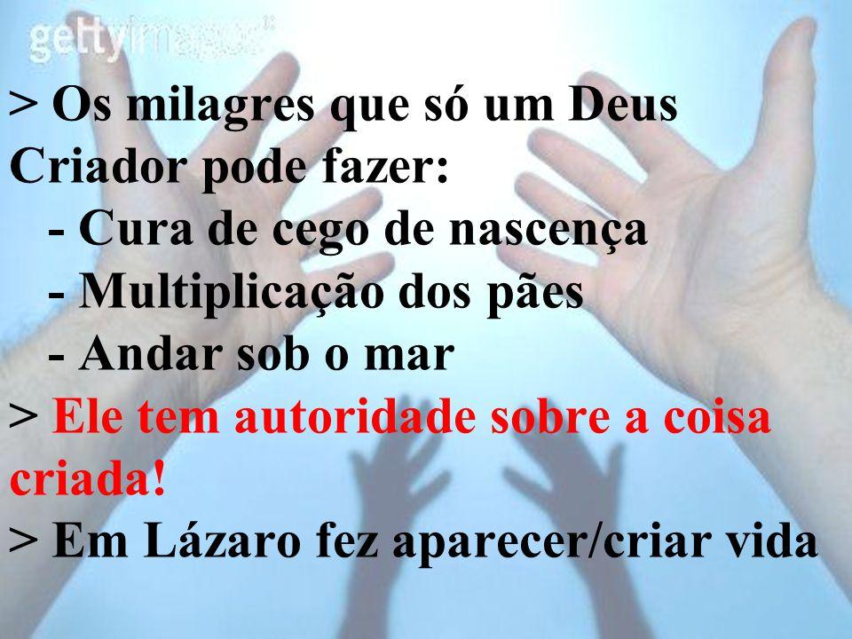 > Os milagres que só um Deus Criador pode fazer: - Cura de cego de nascença - Multiplicação dos pães - Andar sob o mar > Ele tem autoridade sobre a co