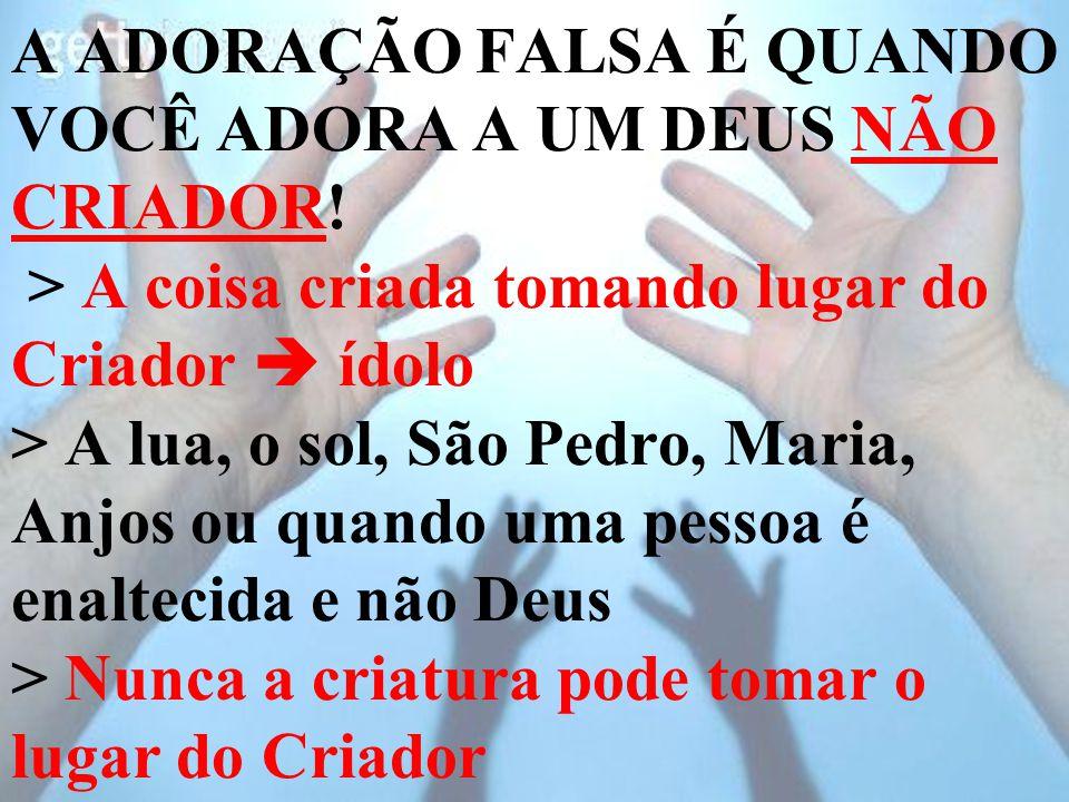 A ADORAÇÃO FALSA É QUANDO VOCÊ ADORA A UM DEUS NÃO CRIADOR! > A coisa criada tomando lugar do Criador  ídolo > A lua, o sol, São Pedro, Maria, Anjos