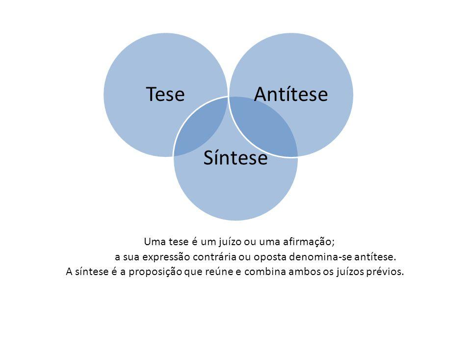 Uma tese é um juízo ou uma afirmação; Tese Síntese Antítese a sua expressão contrária ou oposta denomina-se antítese.