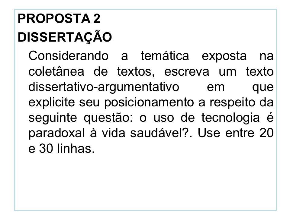 PROPOSTA 2 DISSERTAÇÃO Considerando a temática exposta na coletânea de textos, escreva um texto dissertativo-argumentativo em que explicite seu posici