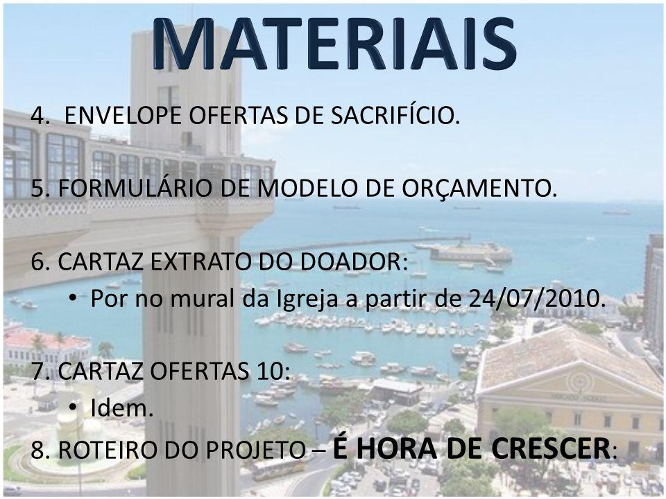 4.ENVELOPE OFERTAS DE SACRIFÍCIO. 5. FORMULÁRIO DE MODELO DE ORÇAMENTO.