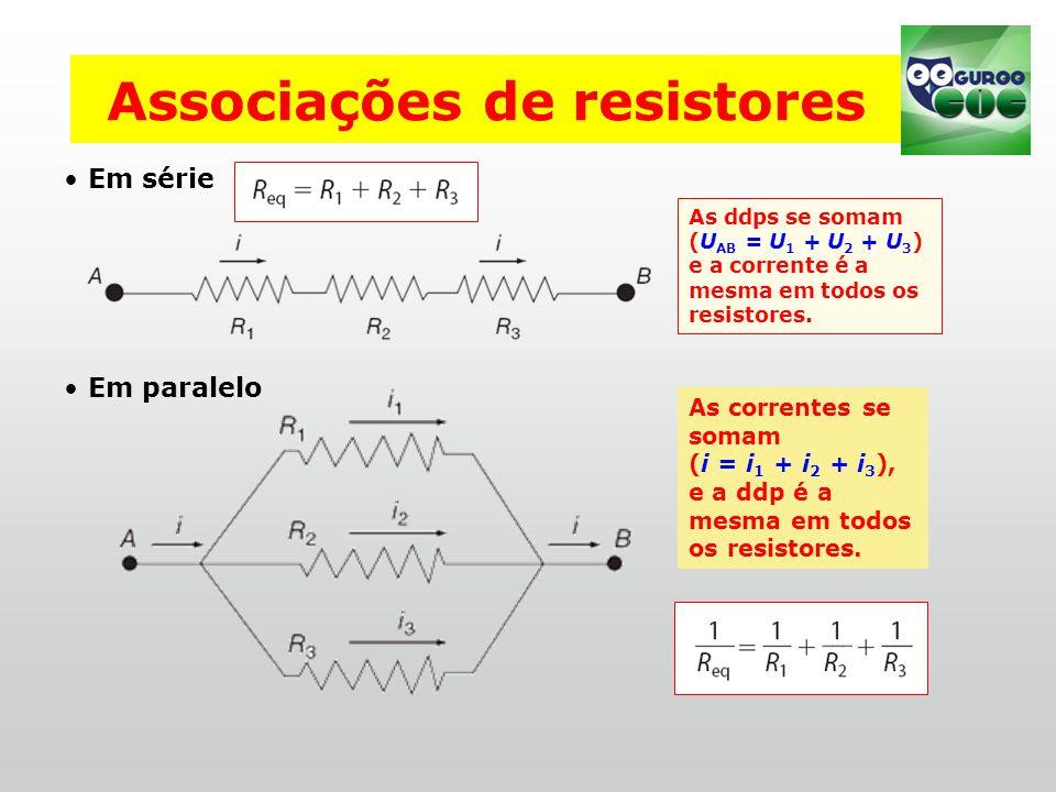 Associações de resistores Em série Em paralelo As ddps se somam (U AB = U 1 + U 2 + U 3 ) e a corrente é a mesma em todos os resistores.