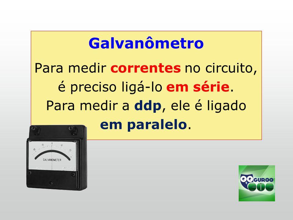 Galvanômetro Para medir correntes no circuito, é preciso ligá-lo em série.