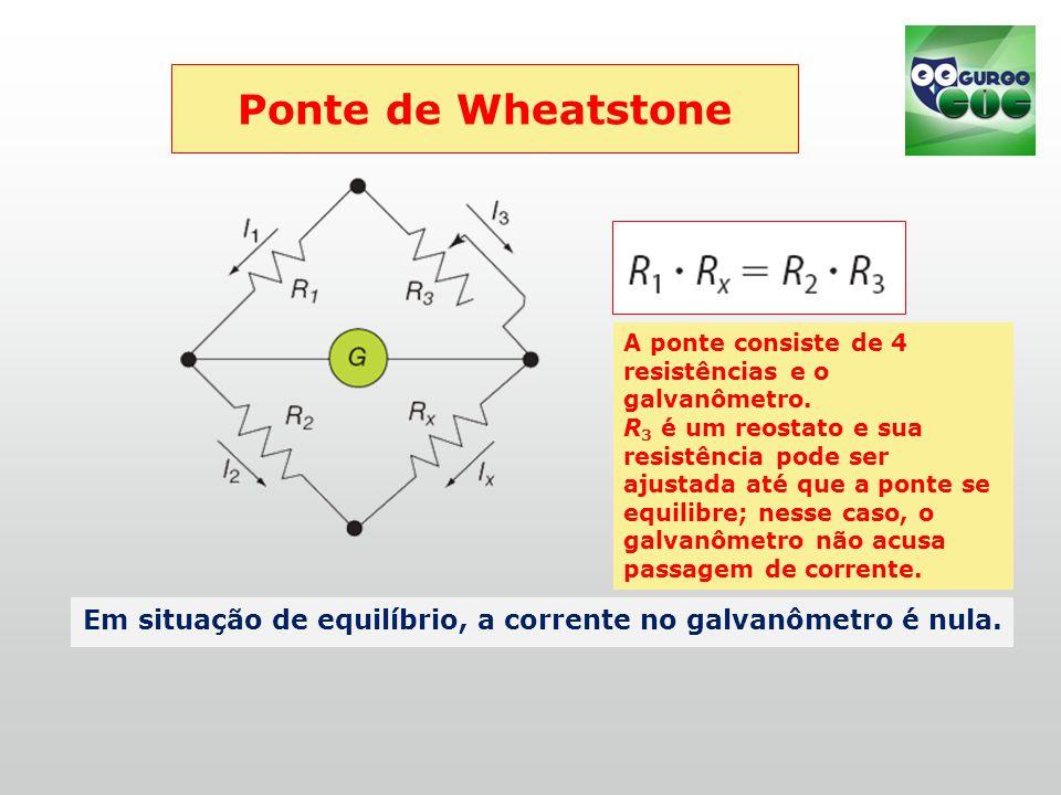Ponte de Wheatstone Em situação de equilíbrio, a corrente no galvanômetro é nula.