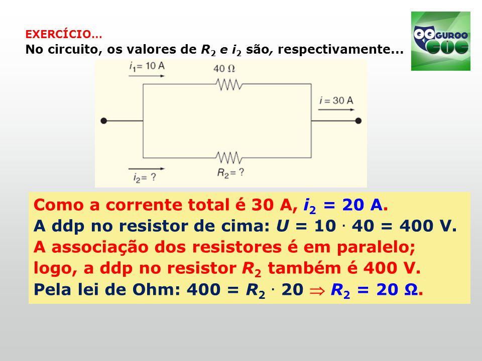 EXERCÍCIO… No circuito, os valores de R 2 e i 2 são, respectivamente...