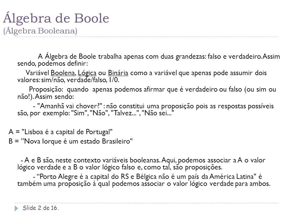 Álgebra de Boole (Álgebra Booleana) Slide 3 de 16.