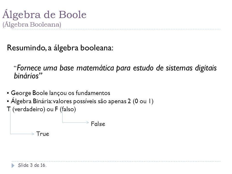 Álgebra de Boole (Álgebra Booleana) Slide 4 de 16.