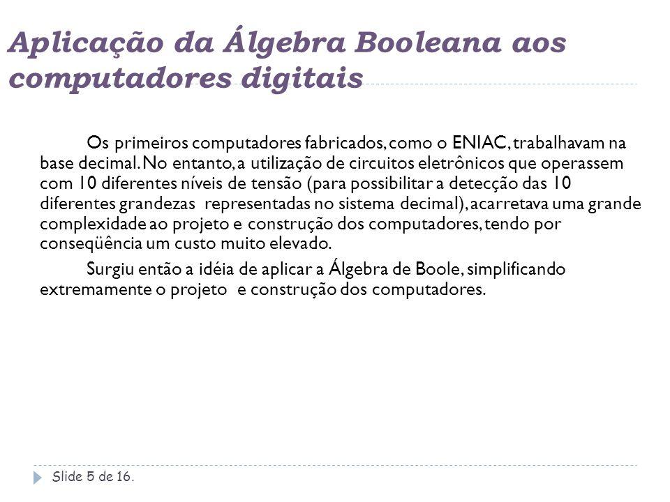 Aplicação da Álgebra Booleana aos computadores digitais Slide 6 de 16.