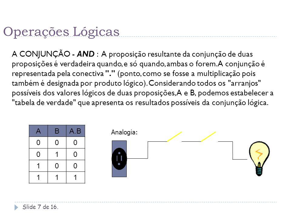 Operações Lógicas A DISJUNÇÃO (Inclusiva) - OR: A proposição resultante da disjunção de duas proposições é falsa quando, e só quando, ambas o forem.