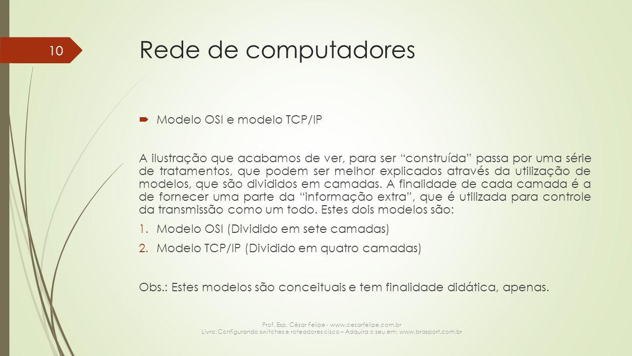 """Rede de computadores  Modelo OSI e modelo TCP/IP A ilustração que acabamos de ver, para ser """"construída"""" passa por uma série de tratamentos, que pode"""