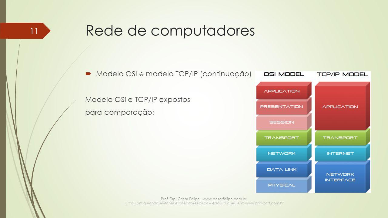 Rede de computadores  Modelo OSI e modelo TCP/IP (continuação) Modelo OSi e TCP/IP expostos para comparação: Prof. Esp. César Felipe - www.cesarfelip