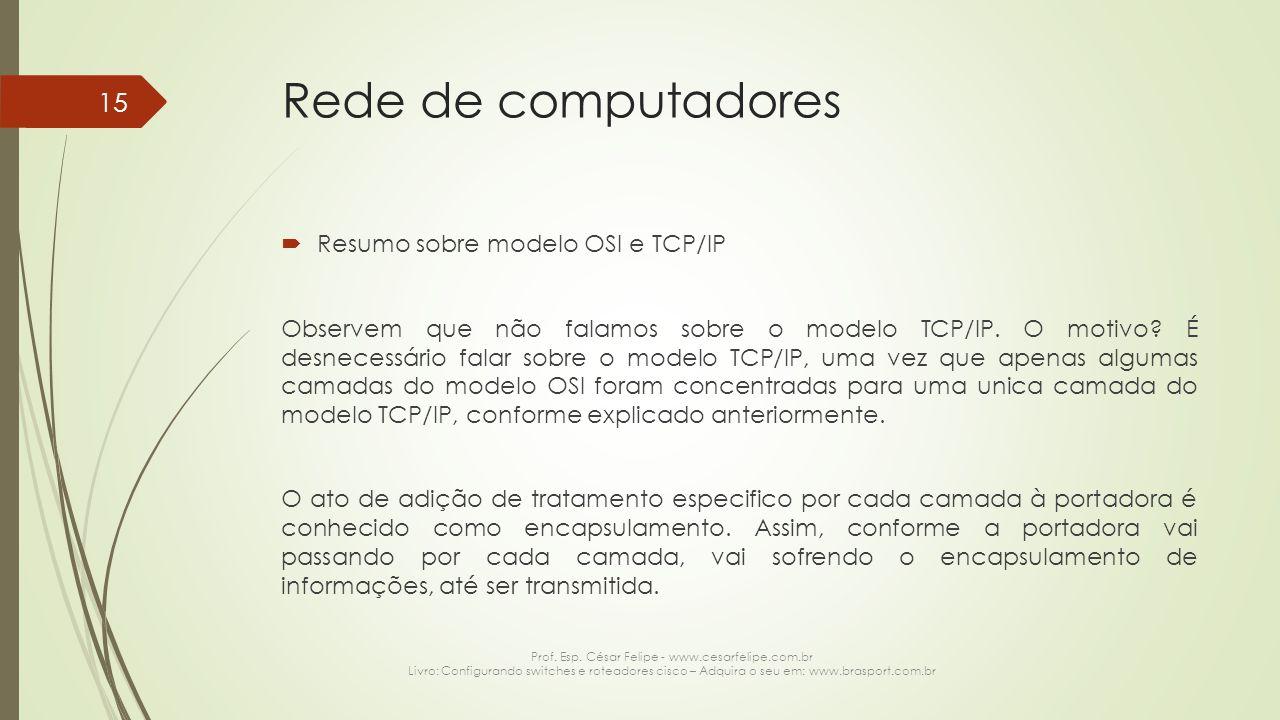 Rede de computadores  Resumo sobre modelo OSI e TCP/IP Observem que não falamos sobre o modelo TCP/IP. O motivo? É desnecessário falar sobre o modelo