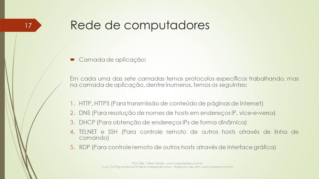 Rede de computadores  Camada de aplicação: Em cada uma das sete camadas temos protocolos específicos trabalhando, mas na camada de aplicação, dentre