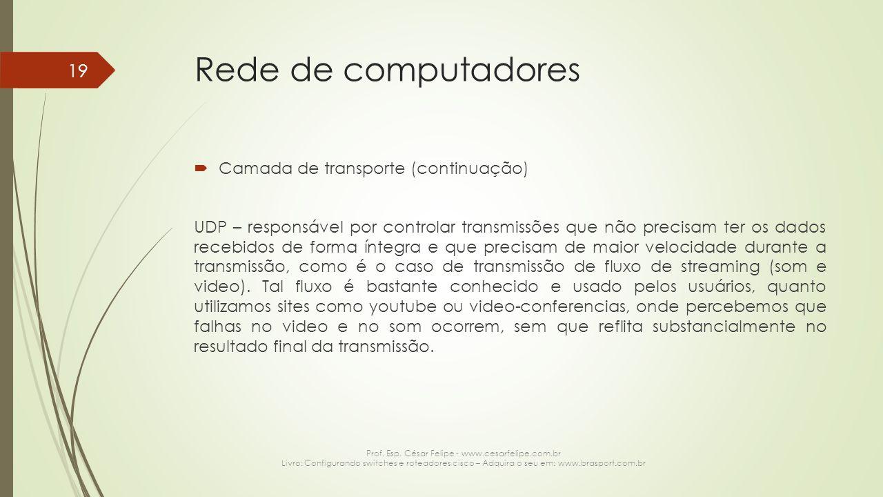 Rede de computadores  Camada de transporte (continuação) UDP – responsável por controlar transmissões que não precisam ter os dados recebidos de form