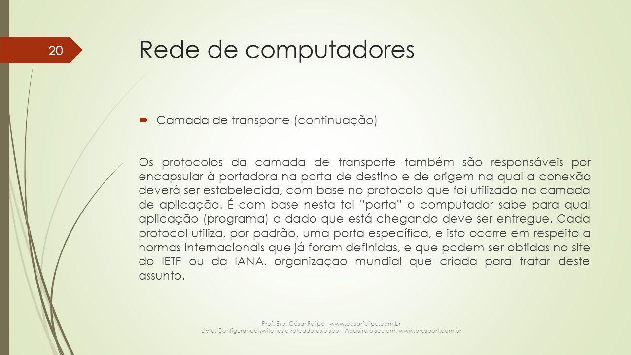 Rede de computadores  Camada de transporte (continuação) Os protocolos da camada de transporte também são responsáveis por encapsular à portadora na